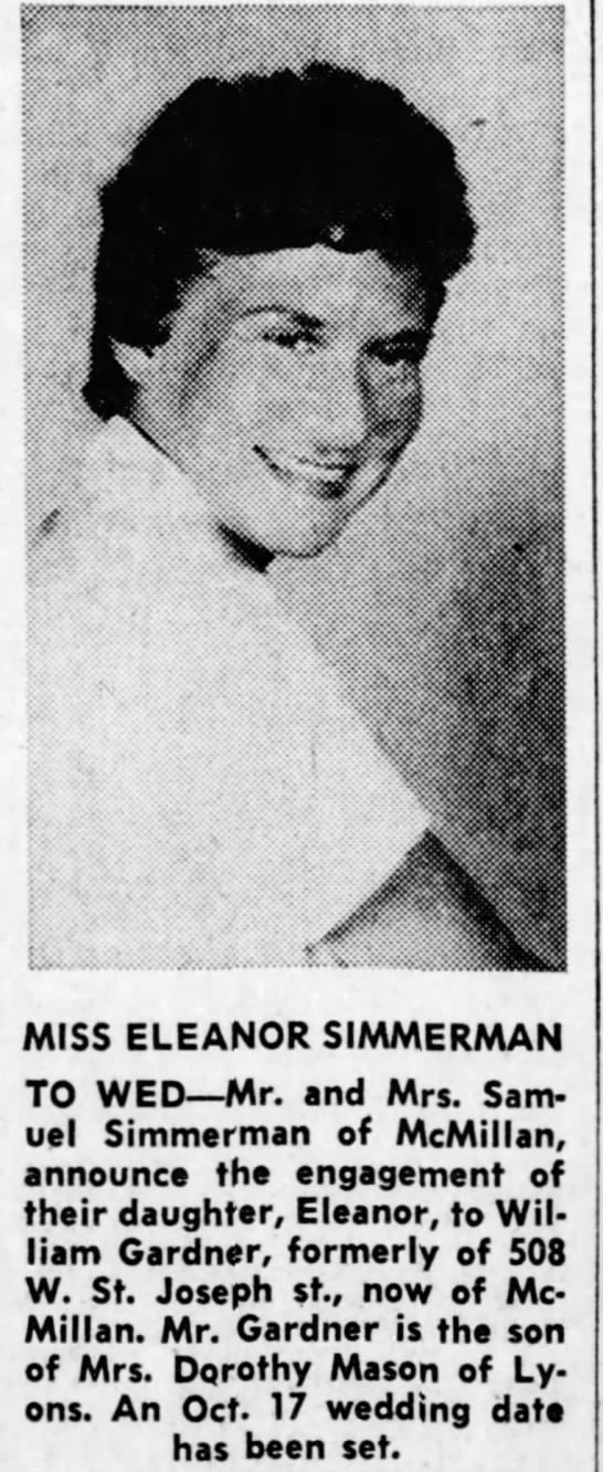 - MISS ELEANOR SIMMERMAN TO WED Mr. and Mrs....