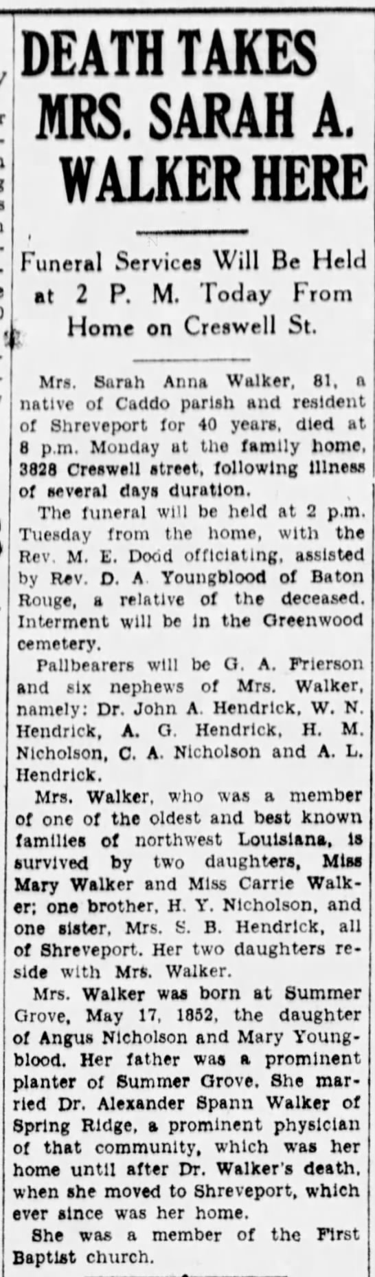 Death Takes Mrs. Sarah A. Walker Here, Sarah Anna Walker, Widow of Dr. Alexander Spann Walker - DEATH TAKES MRS. SARAH A. WALKER HERE Funeral...