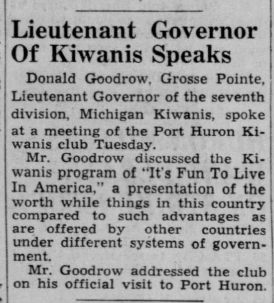 Don Goodrow - Kiwanis - Lieutenant Governor Of Kiwanis Speaks Donald...