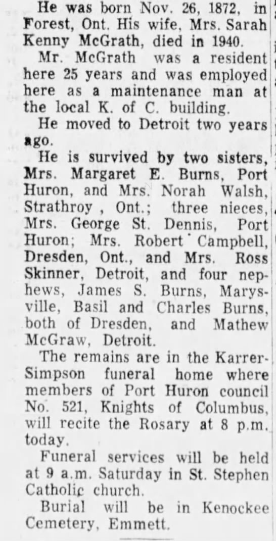 Michael Mcgrath obit 1955.  Husband of Sarah Kinney Mcgrath ..she died 1940