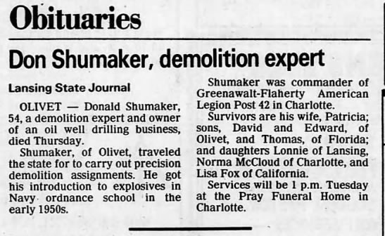 30 Aug 1986 Obit Don Shumaker - Obituaries Don Shumaker, demolition expert...