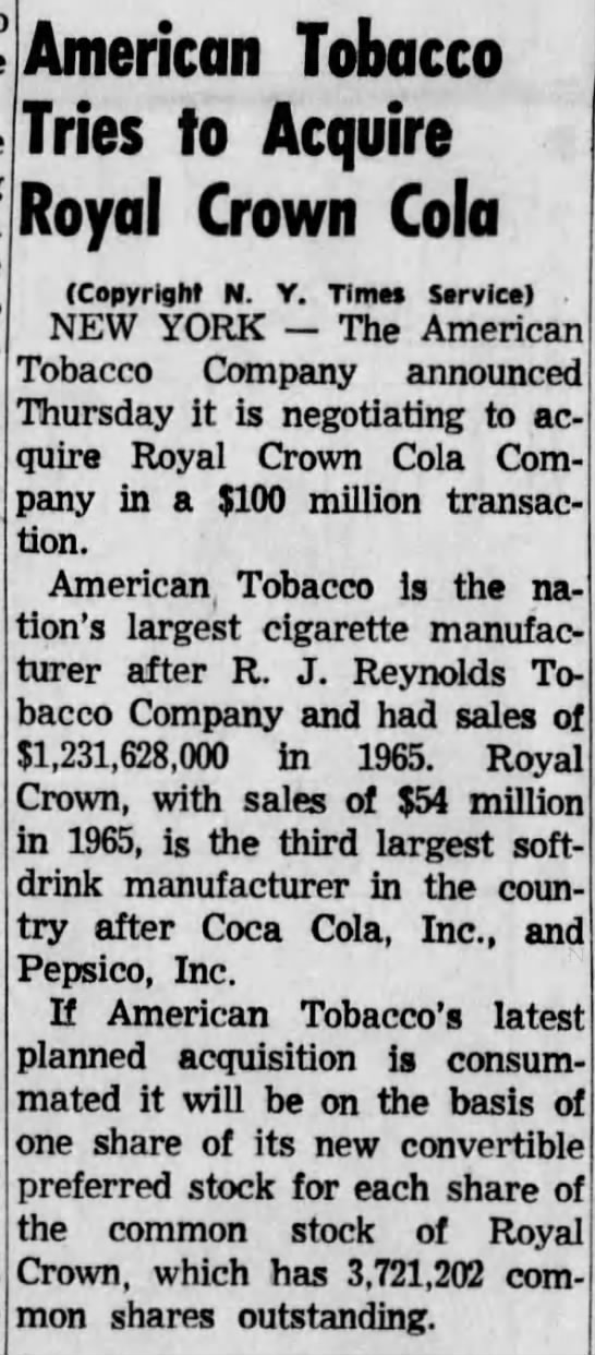 - American Tobacco Tries to Acquire Royal Crown...