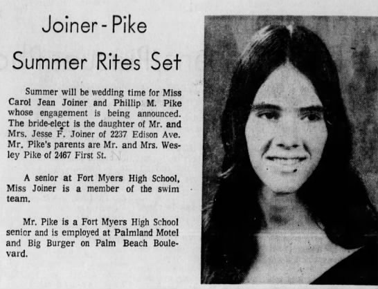Phillips wedding announcement - Joiner -Pike -Pike Summer Rites Set Summer will...