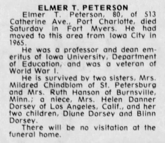 News-Press (Fort Myers, Florida) 20 Feb 1977, p 54. - ELMER T. PETERSON Elmer T. Peterson, 80, of 513...