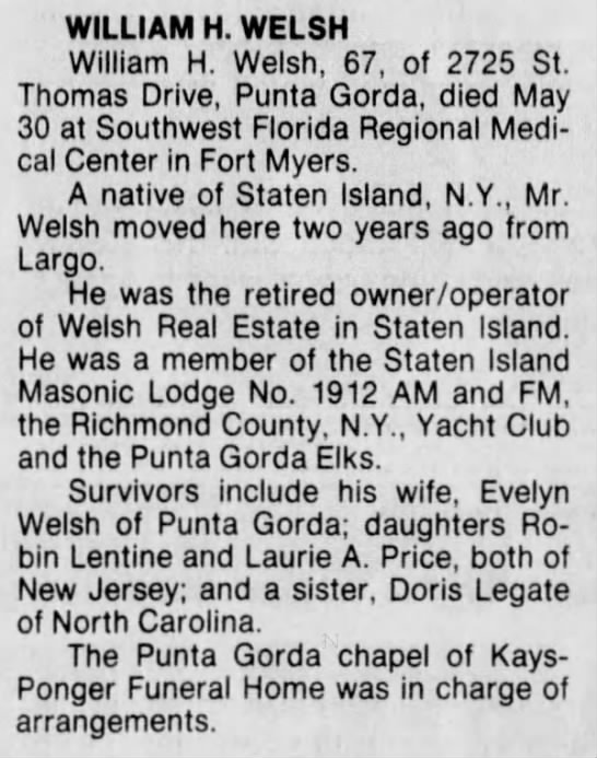 1988 Fort Myers News - WILLIAM H. WELSH William H. Welsh, 67, of 2725...