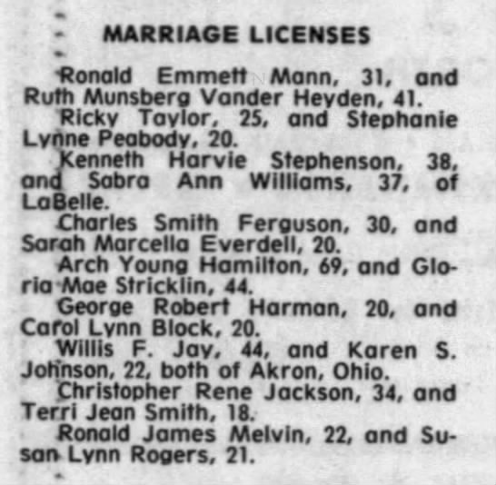Mary Ruth Munsberg gets married again. - - MARRIAGE LICENSES Ronald Emmett Mann, 31. and...
