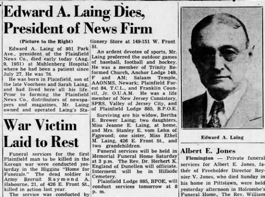 - Edward A. Laing Dies, President of News Firm...