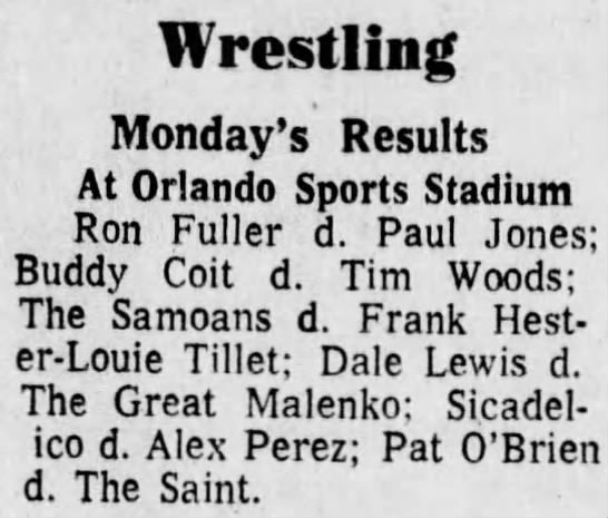 - m-Wrestling Monday's Results At Orlando Sports...