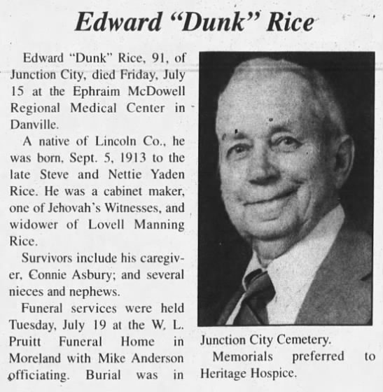 "Edward ""Dunk"" Rice (91) dies - Edward ""Dunk"" Rice Edward ""Dunk"" Rice, 91, of..."