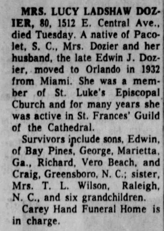 Dozier, Lucy A. Ladshaw - Obituary - MRS. LUCY LADSHAW DOZ-1ER, DOZ-1ER, DOZ-1ER,...