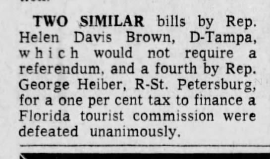 Helen Brown Representative can't be her? - TWO SIMILAR bills by Rep. Helen Davis Brown,...
