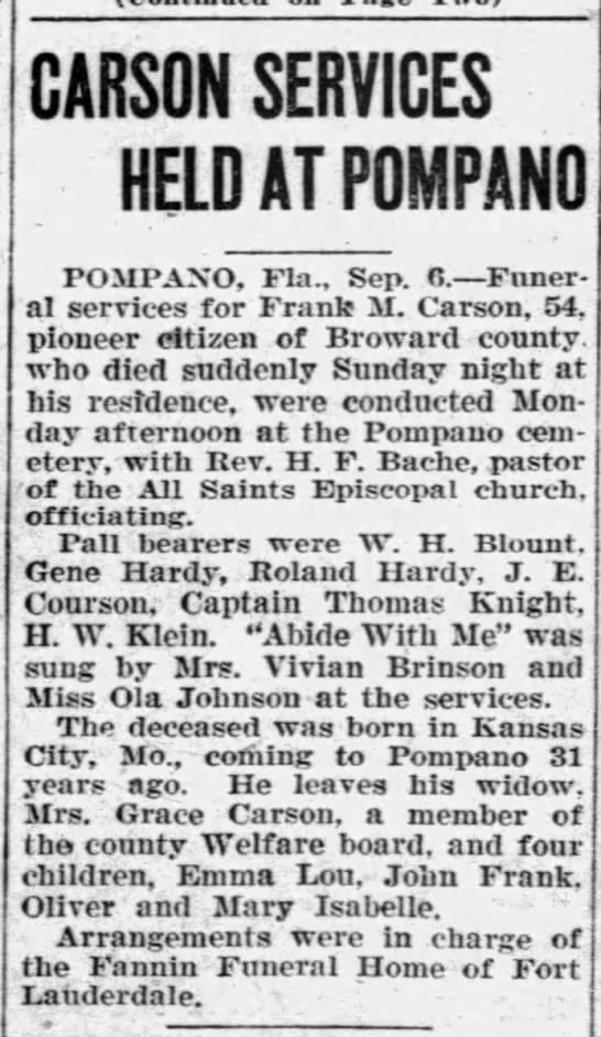 Funeral Services for Frank Marion Carson - I coali-1 CARSON SERVICES HELD AT POMPANO...