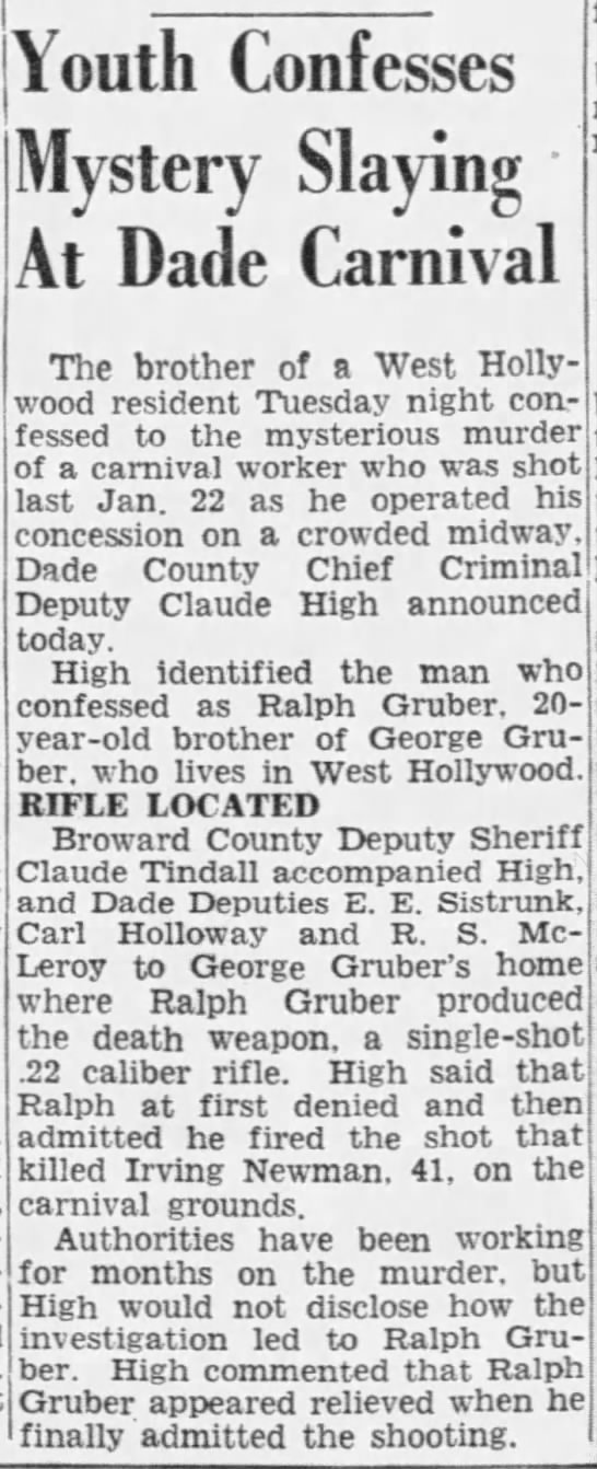 Gruber, Ralph - 13 Sep 1950 - Youth Confesses Mystery Slaying At Dade...