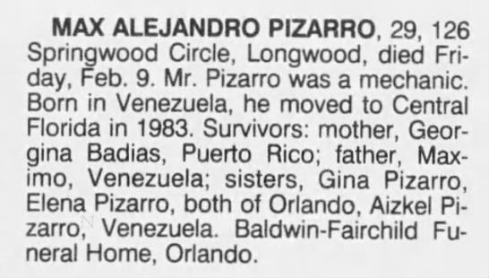 - MAX ALEJANDRO PIZARRO, 29, 126 Springwood...