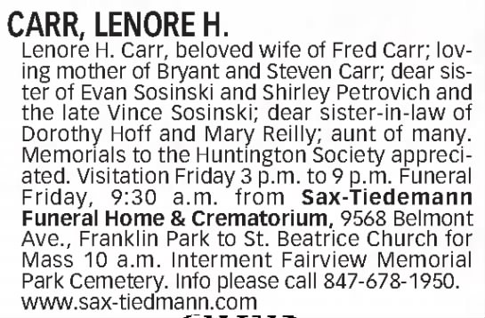 Lenore Sosinski Obituary - CARR, LENORE H. Lenore H. Carr, beloved wife of...