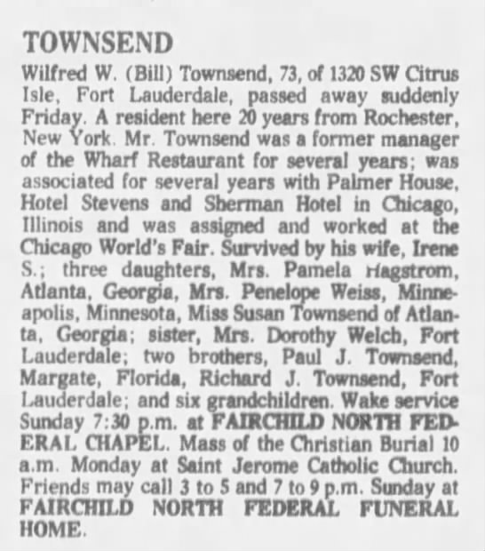 Townsend Wilfred - TOWNSEND Wilfred W. (Bill) Townsend, 73, of...