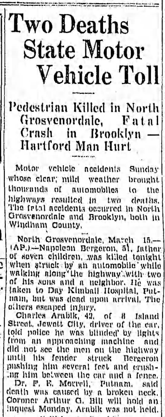 Napolean Berrgeron 3-16-1931article of accident caused death