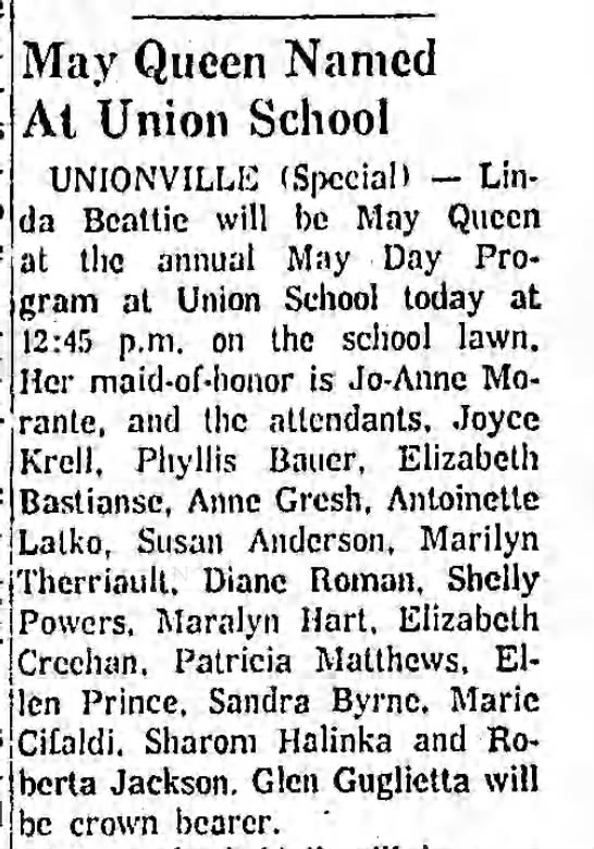 Marie Cifaldi - May Queen Court - May Queen Named At Union School UNIONVILLE...
