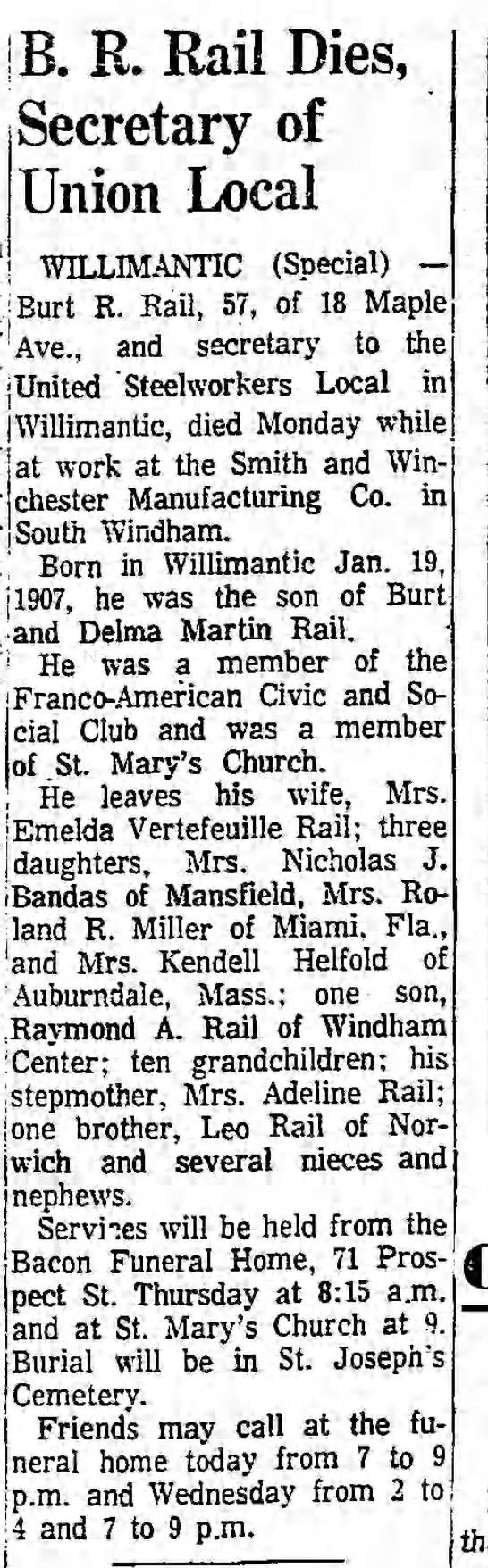 Burt Rail Jr. Obituary