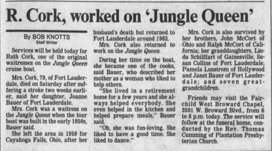 Obit-Cork,Ruth-1 Dec 1989 - R. Cork, worked on 'Jungle Queen' By BOB KNOTTS...