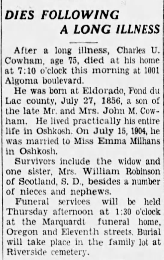 Charles U Cowham (1856-1933) obituary - DIES FOLLOWING A LONG ILLNESS After a long...