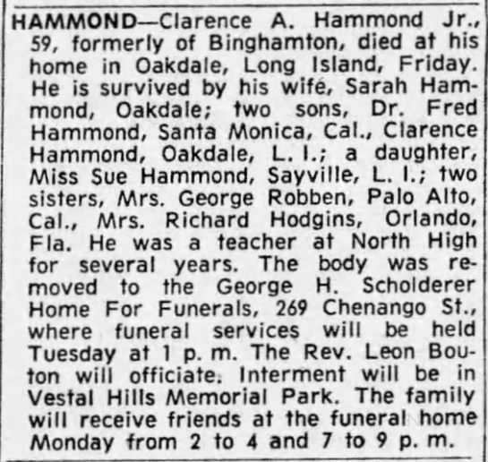 Obituary - HAMMOND Clarence A. Hammond Jr 59, formerly of...