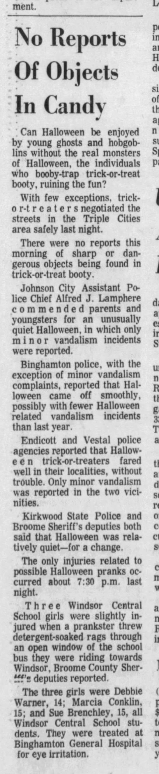 """- department. No Reports Of Objects In Candy """" ;..."""