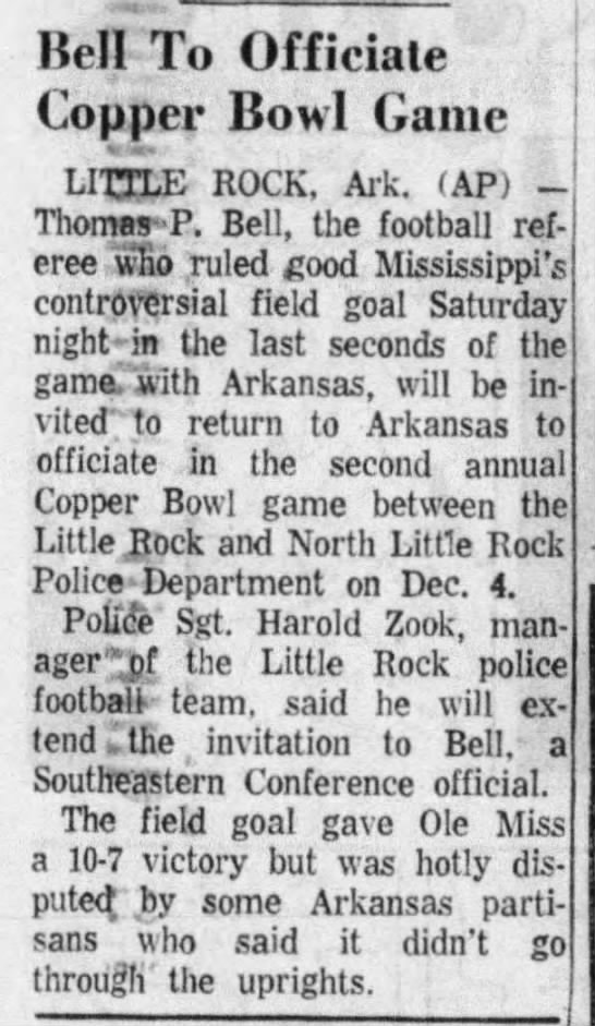 - Keif To Officiate Copper Bowl Game LITTLE ROCK,...