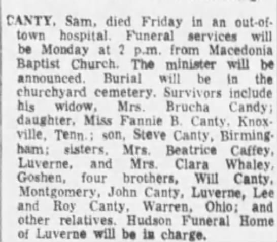 Bud Sam Canty obituary - CANTY. Sam. died Friday In an out-of-town...
