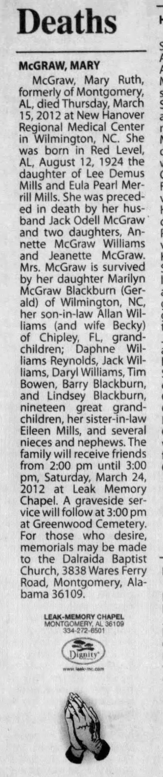 Mary Ruth Mills McGraw obituary - Deaths McGRAW, MARY McGraw, Mary Ruth, formerly...