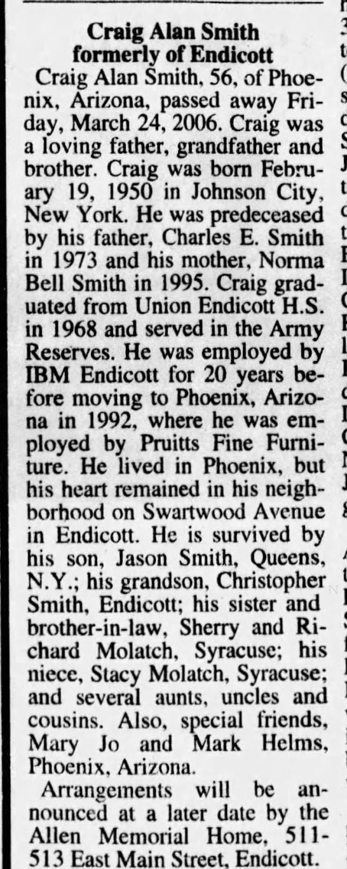 - Craig Alan Smith formerly of Endicott Craig...