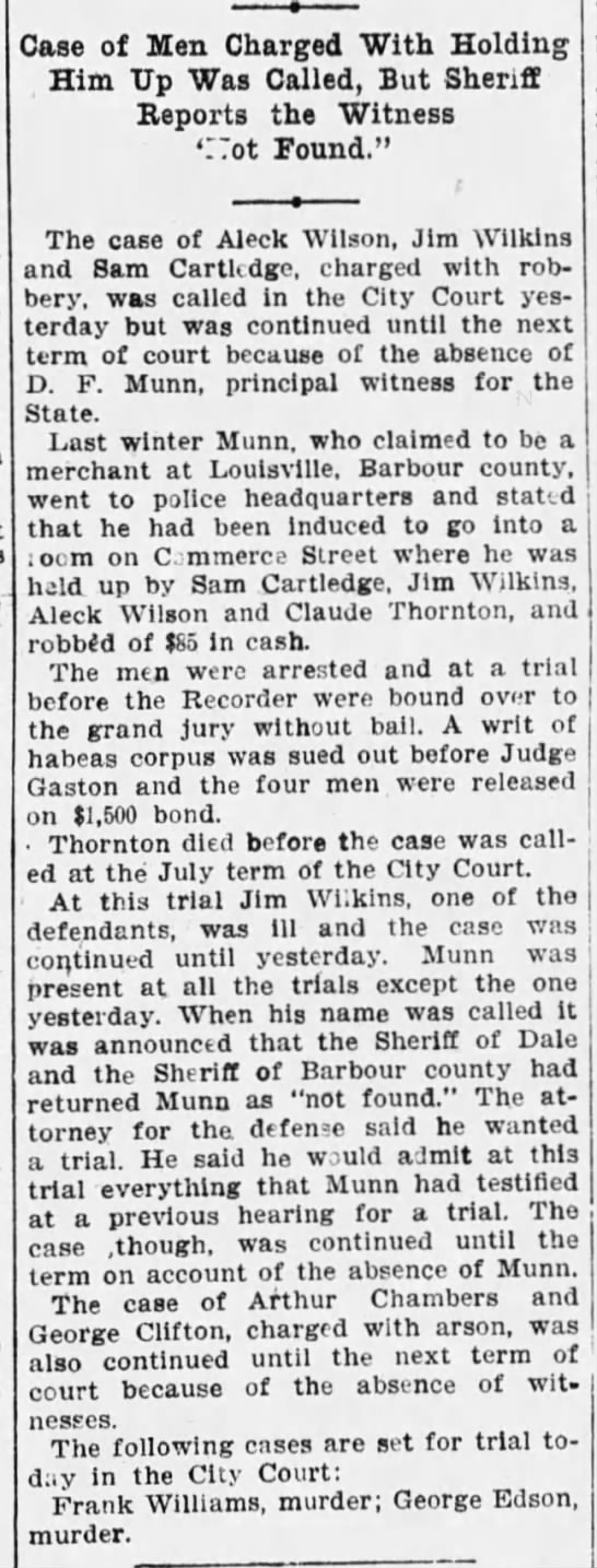 D.F. Munn? - Case of Men Charged With Holding Him Up Was...