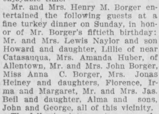 Amanda Koch Huber 1909 - Mr. and Mrs. Henry M. Borger entertained...