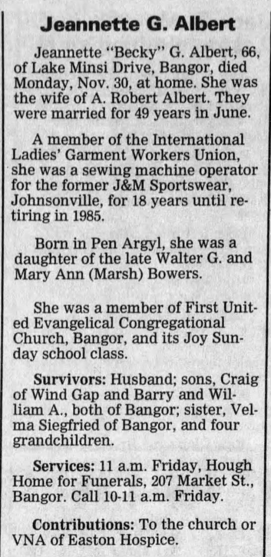 Bowers, Jeannette Gloria - Obituary