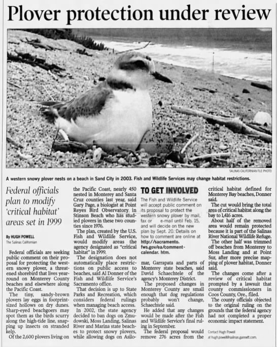 - Plover protection under review rft Art,.-...