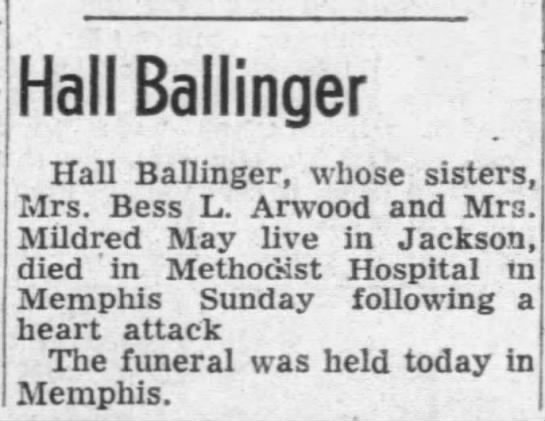 Hall Ballinger obit Apr 8, 1958 JS