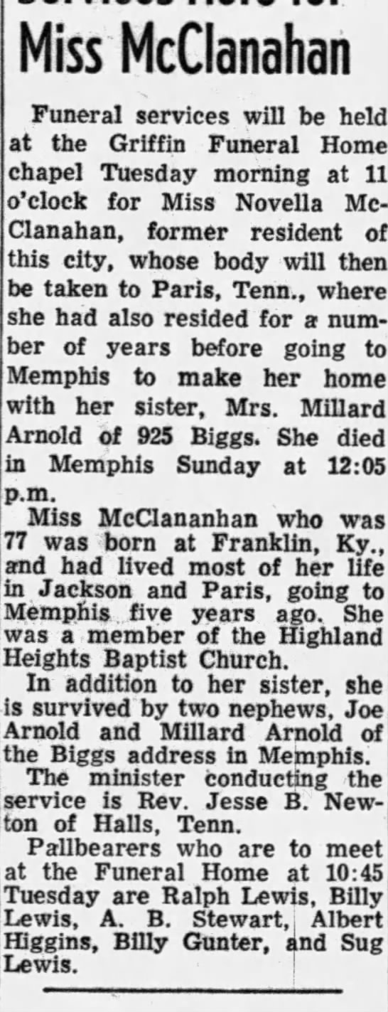 - Miss McClanahan Funeral services will be held...