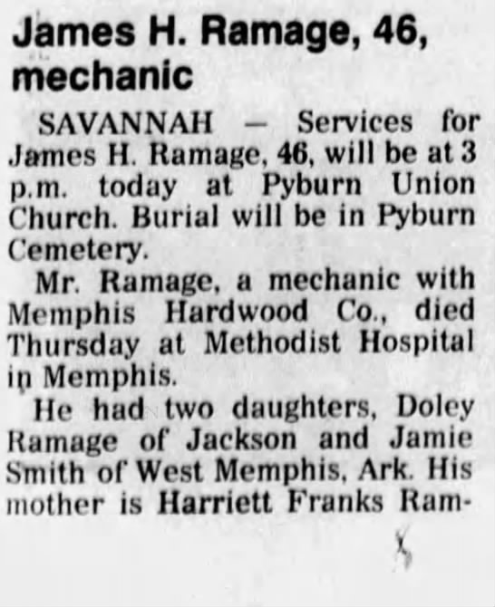 James H Ramage obit 1994 - James H. Ramage, 46, mechanic SAVANNAH -...