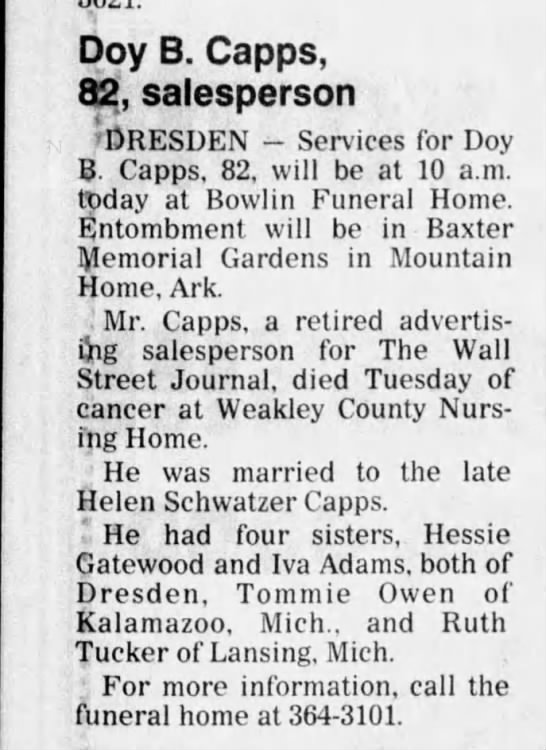 obituary - Doy B. Capps, 82, salesperson 'DRESDEN -...