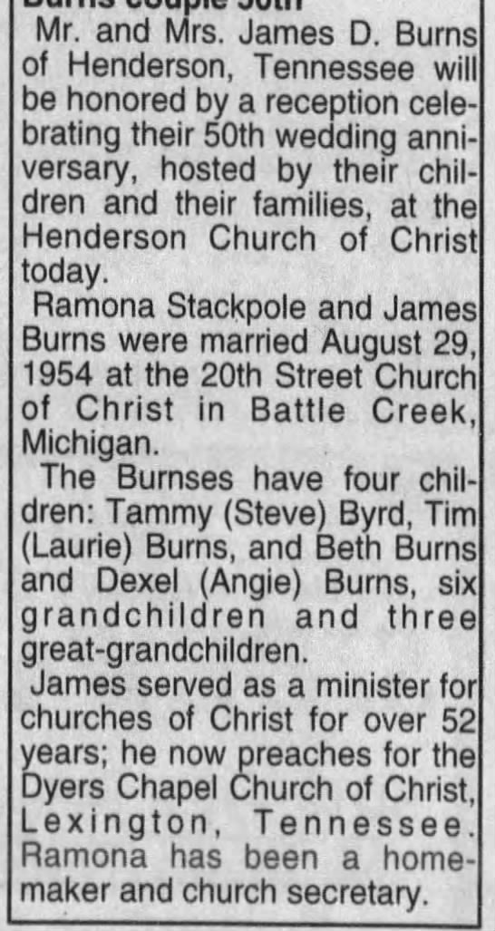 James Dee and Ramona Stackpole Burns Celebrate 50th - Mr. and Mrs. James D. Burns of Henderson,...