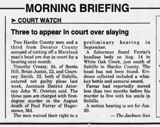03 - COURT Three to appear in court over Two Hardin...