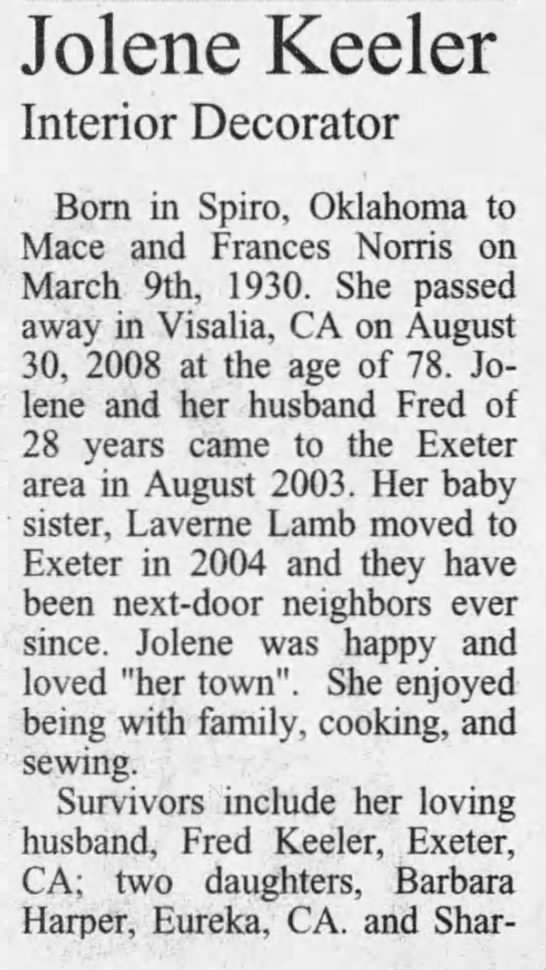 Obituary (column 3) - Jolene Keeler Interior Decorator Born in Spiro,...