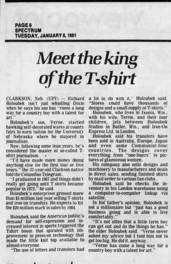 UPI- story 1981 - PAGE 6 SPECTRUM TUESDAY, JANUARY 6, 1981...