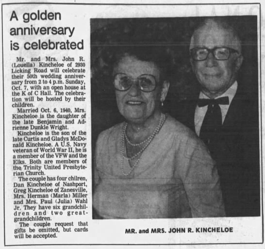 Louella Wright and John R Kincheloe 50th wed anniv - A golden anniversary is celebrated Mr. and Mrs....