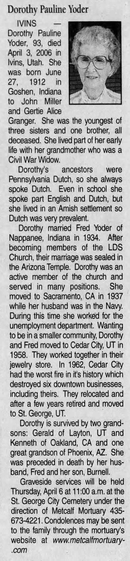 The Daily Spectrum (Saint George, Utah) 06 Apr 2006, Thursday, Page 5 - Dorothy Pauline Yoder IVINS -Dorothy -Dorothy...