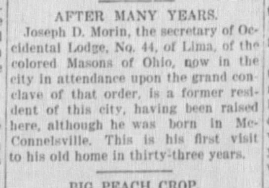 Joseph D Morin visits Masonic Lodge in Zanesville. - AFTER MANY YEARS. Toseph I). Morin, the...