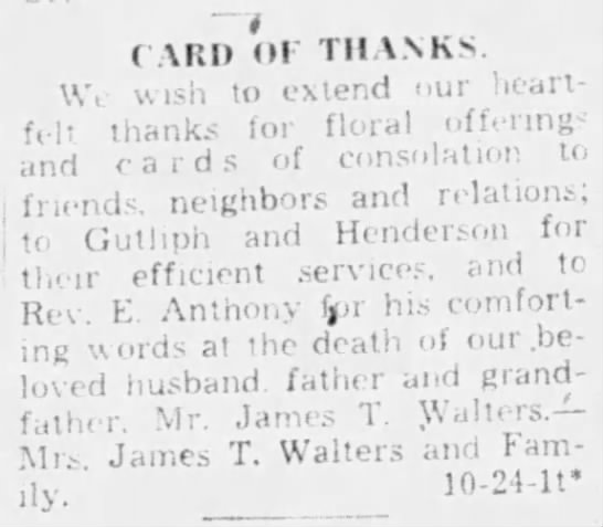 James T. Walters - thank you card - - rv.-- rv.-- irrll r troo IVIllb F OUT. . . ....