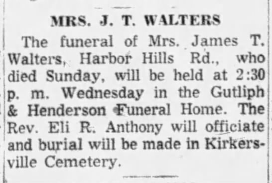 Mary J. (Smith) Walters - funeral - j - MRS. J. T. WALTERS The funeral of Mrs....