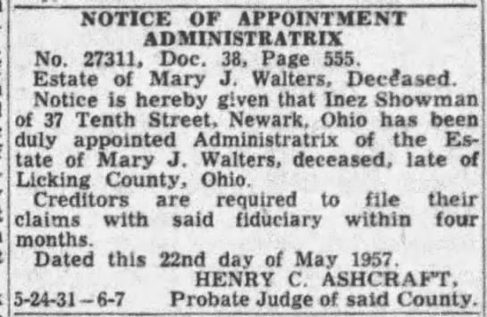 Mary J. Walters - estate - NOTICE OF APPOINTMENT ADMINISTRATRIX No. 27311,...