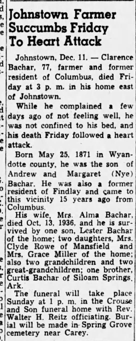 Clarence Bachar Obituary - a Johnstown Farmer Succumbs Friday To Heart...